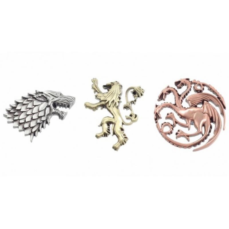 GAME OF THRONES - CREST METALLIC PINS - SET OF 3 HOUSE
