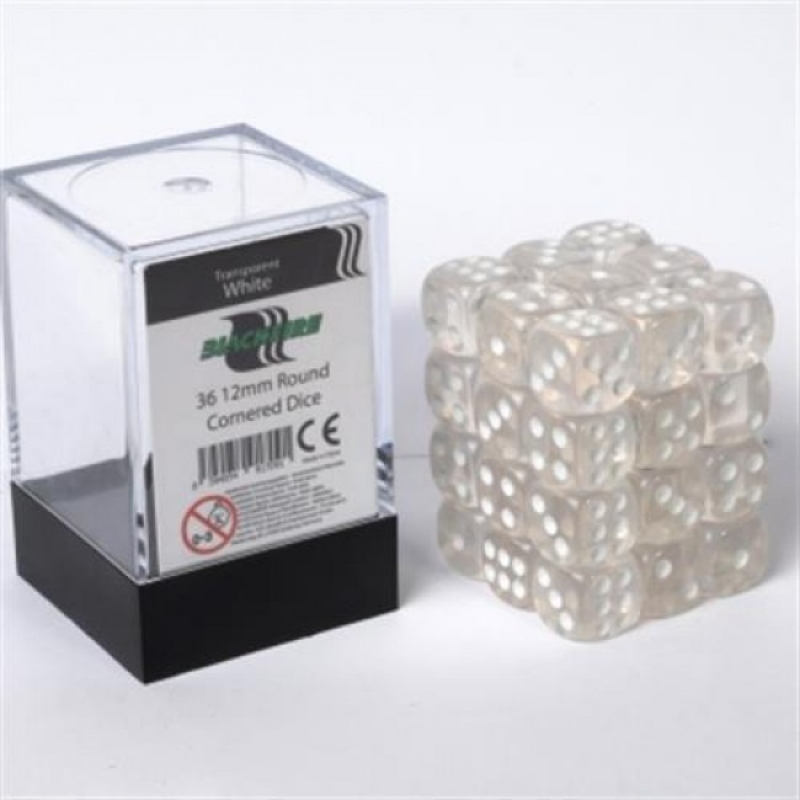 SET 36 DADI D6 12MM - TRANSPARENT WHITE - BLACKFIRE DICE CUBE