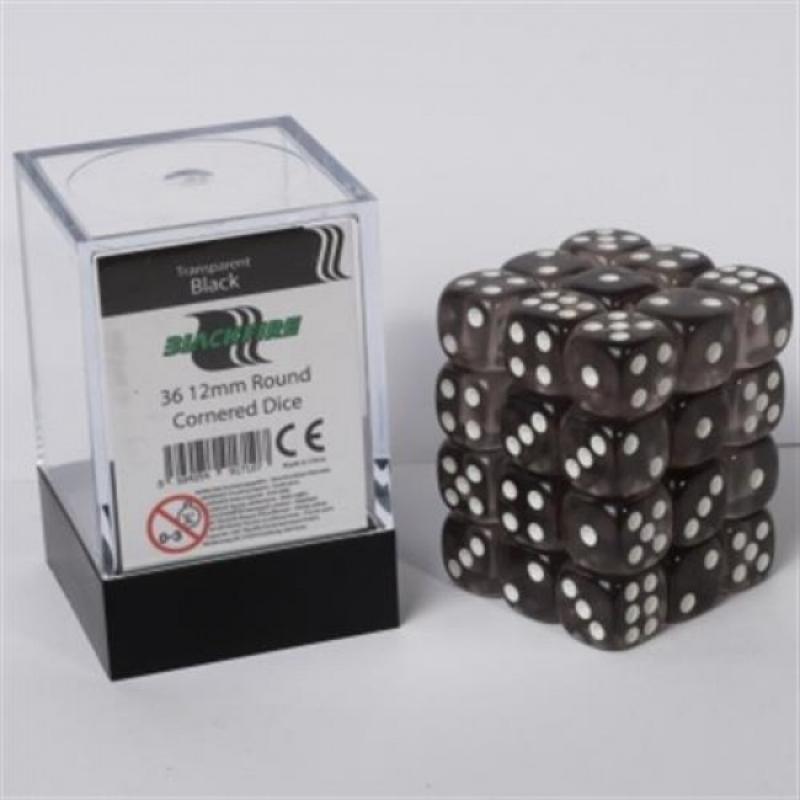 SET 36 DADI D6 12MM - TRANSPARENT BLACK - BLACKFIRE DICE CUBE
