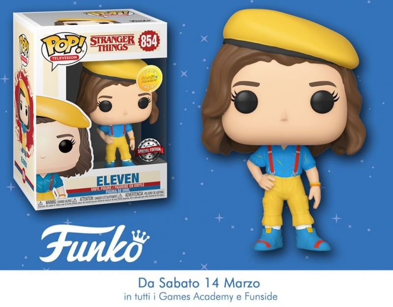 STRANGER THINGS- POP FUNKO FIGURE 854 ELEVEN IN YELLOW OUTFIT - GAMES ACADEMY EXCLUSIVE