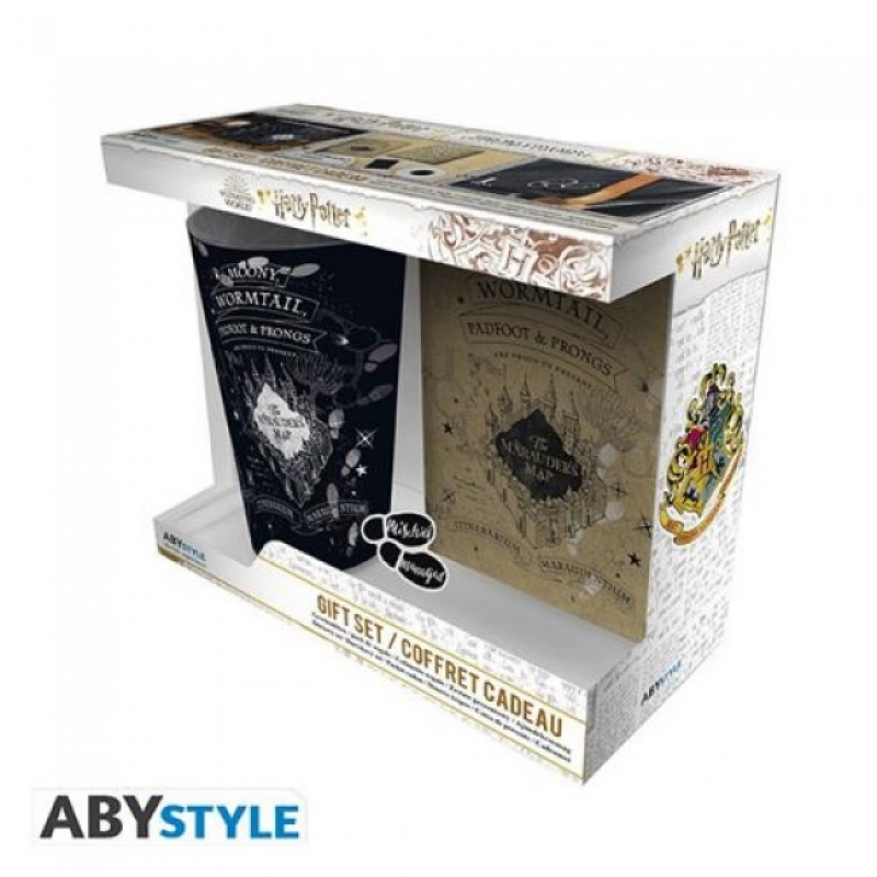 HARRY POTTER GIFT PACK con BICCHIERE 400ML + SPILLA + POCKET NOTEBOOK MARAUDER'S MAP